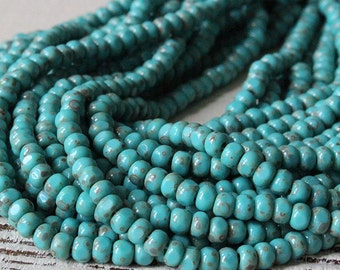 6/0 3 Cut Turquoise Picasso Seed Beads - Aged Picasso Seed Beads - Jewelry Making Supply - Beading Supplies - Choose Amount