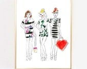 "Fashion Illustration Print ""Kate Spade""Print,  Art Print, Hearts, Girls Room Print, Girls Print, Home Decor, Vanity Art, Watercolor"