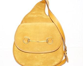 GUCCI Vintage Backpack Tan Suede Leather Horsebit Sling Bag - AUTHENTIC -
