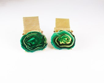Vintage Dante Wrap Cuff Links with Sliced Green Stones