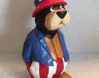 Hand Carved Patriotic Bear Wood Carving Carved Bears Carved Wood Bears Wood Carvers of Etsy Cabin Decor