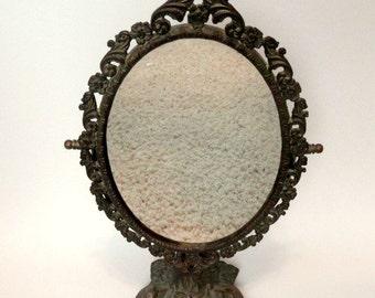 Vintage Brass Swivel Vanity Mirror Dragon Fish Base//Asian Inspired Brass Mirror//Shaving Mirror//Makeup Mirror