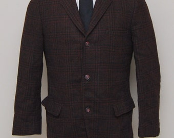 1950-60ss men's black and red plaid wool blazer/ 50-60s men's plaid blazer/ Cum Laude