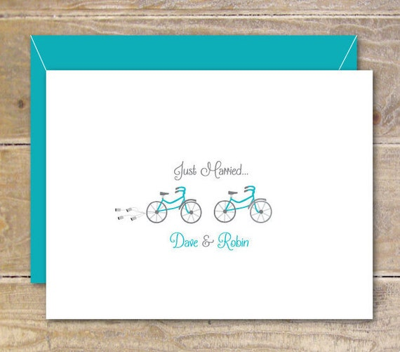 Bicycle Wedding Thank You Cards, Bicycles, Just Married, Wedding Thank You Cards, Bridal Shower, Tandem Bike, Wedding Thank You Cards
