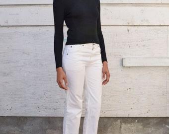 Vintage Silk Knit Minimalist 1990's Black Ribbed V Neck Long Sleeve Sweater S/M