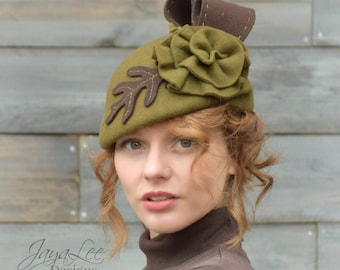 Ancient Oak Beret Hat Olive Green Fascinator Hat
