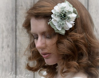 Shabby Flower Hair Clip / Lace Hair Barrette / Spring Green White