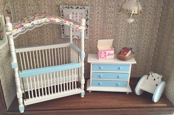 Dollhouse Nursery Furniture Set, Crib, Dresser and Teddy Bear Rocker, White With Blue Trim, 1:12 Scale Miniatures, Last Set
