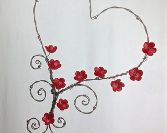 Barbed Wire Heart With Wee Red Forever Blooming Flowers Made To Order