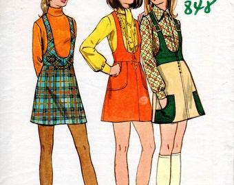1970s Mini Jumper Pattern - Vintage Butterick 5841 - Bust 33 1/2 Suspenders