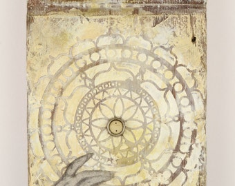 Fairytale Flavour: original encaustic painting, assemblage art, ivory, wood with poetry collage by Leslee Lukosh of Foundturtle.