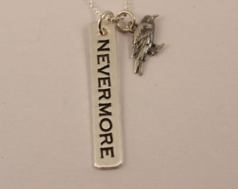 NEVERMORE necklace with Raven charm - Hand Stamped Sterling Silver