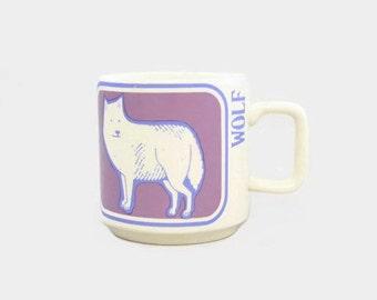 Vintage Wolf Mug Critters Series Crown Lynn New Zealand
