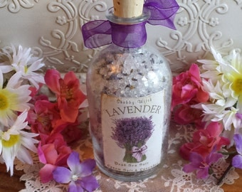 Lavender Bath Salts, Dead Sea Salt, Bath Salts in Corked Apothecary Bottle, Lavender Buds