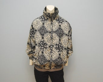 Vintage 1990's Windbreaker Jacket with Black, White and Gray Leopard Print Pattern Diamonds Animal Print Size Medium Turtleneck Coat