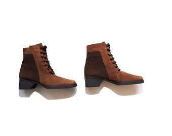 Vintage Ankle Boots 6 / Brown Leather Boots / Lace Up Boots / Sculptural Boots