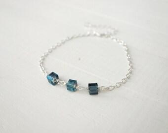 Chain bracelet blue bead bracelet minimalist bracelet glass cube beads layering bracelet for women