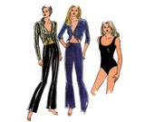 """Womens Tie Top Stretch Pants Leotard Pattern Kwik Sew 2632 Size XXS - L Bust 29 - 41 1/2"""" Exercise Dance Wear Pattern UNCUT Factory Folds"""