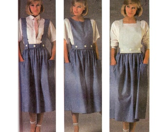 80s Button Trim Suspender Skirt Pattern McCall's 9121 Vintage Sewing Pattern Size 12 Bust 34 inches UNCUT Factory Folded