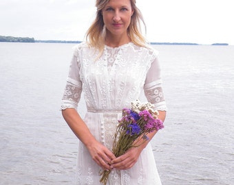Edwardian Wedding Dress, Antique White Cotton & Filet Lace Dress, 1910s Embroidered Tea Dress