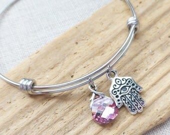 Hamsa Hand Bracelet, Adjustable Bangle Bracelet, Charm Bracelet, Swarovski Rose Pink Crystal, Stainless Steel, Protection Jewelry, Yoga, Zen