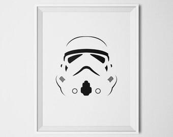 Star Wars Minimalist Poster Stormtrooper Art Star Wars Digital Download Printable Nerd Decor Stormtrooper Helmet Star Wars Print Cool Print