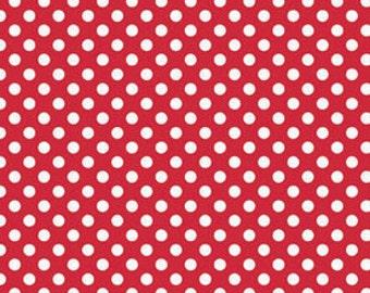 1 Yard of Small Polka Dots Fabric C350-80 Red Riley Blake Designs Fabric