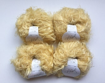 GGH Apart yarn yellow color 4 skeins lot destash, eyelash novelty yarn