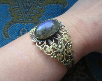Faceted Blue Labradorite Brass Cuff