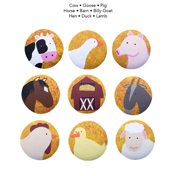 Hand Painted Knob - Children's Custom Hand Painted Barn Yard Critters Farm Animal Children's Drawer Knobs Pulls or Nail Covers for Kids