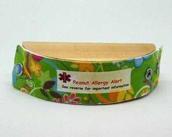 Kid's Fashion Safety ID Medical Alert Wristband Allergy Alert Bracelet - Green Garden