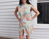 Mod Hippie 60s Hot Pant Tunic Top Set Pastel Floral Print Sleeveless Vintage M L