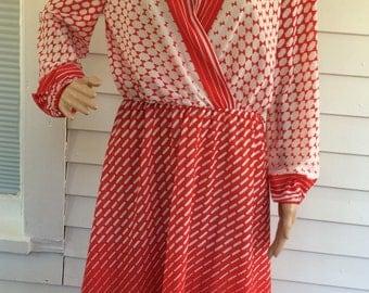Sheer Red White Dress Print Vintage 70s Long Sleeve L XL