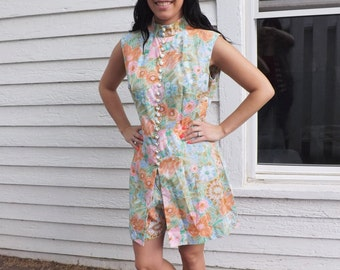 Mod Hippie 60s Hot Pant Tunic Top Set Pastel Floral Print Sleeveless Vintage M L