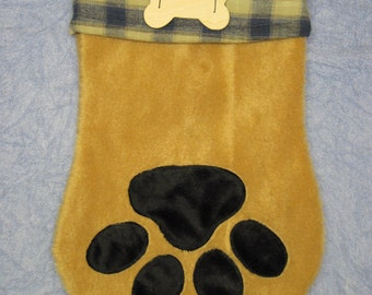 Dog Stocking - Blue & Tan Plaid