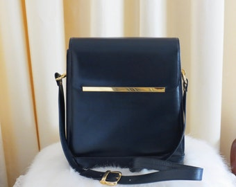 Vintage Leather Dark Navy Shoulder Bag Handbag Large Box Bag