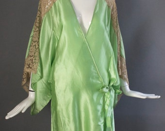 20s ACID GREEN with lace Art Deco antique draped lingerie lounge Kimono ROBE Great Gatsby flapper vintage 1920s