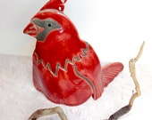 Red Cardinal Bird Raku Pottery clay ceramic bird sculpture raku art animal sculpture Wildfire Pottery Cape Breton bird art