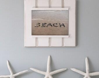 Beach Theme Word Art- rustic beach décor, coastal photo art, cottage décor, beach photography, beach stones, beach writing, beach letter art