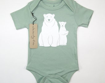 Polar Bears | Organic Cotton Baby Bodysuit | Unisex Baby Gift Idea | Gender Neutral | Infant One Piece | Bear | Mint and White | Hipster
