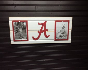 "University of Alabama picture frame holds 2-4""x6"" photo, decor"