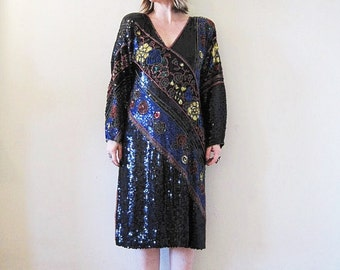 vintage 70s 80s beaded sequined silk dress / Indian tunic boho gipsy goddess Gatsby flapper