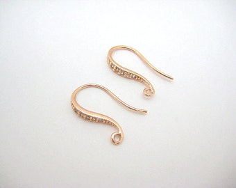 20pcs / Shapely CZ Hook Earwires, Rhodium, 16K Yellow, Rose Gold plated over Brass