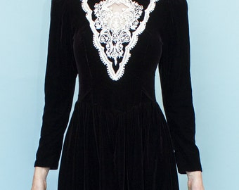 Black Velvet Scott Mcclintock Long Sleeve Low Back Lace Embellished Goth Dress Size S-M