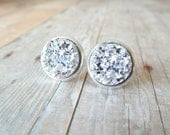 S P A R K L E  - Silver Chunky Sparkle, Faux Druzy, Silver Plated Stud Earrings, 10mm or 12mm