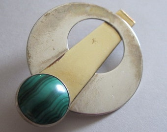 Vintage Malachite Cabochon Modernist MOD Space Age Mixed Metal Brooch Pin
