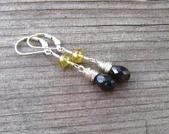 Smokey Topaz and Garnet Earrings, Hessonite Garnet, Sterling Silver Drop Earrings, Smokey Topaz Jewelry, Brown Stone Earrings