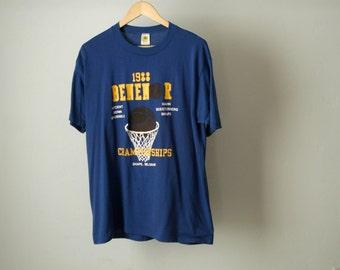 vintage 1988 BELGIUM basketball tournament BLUE and yellow Benenor Brussels Bonn faded hoops t-shirt