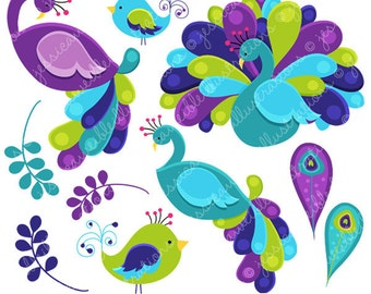 Pretty Peacocks Cute Digital Clipart for Commercial or Personal Use, Peacock Clipart, Peacock Graphics, Teal Purple Peacock Clip Art