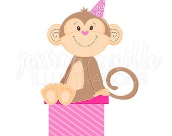 Pink Monkey on Gift Cute Digital Clipart, Party Monkey Clip art, Birthday Graphics, Monkey Illustration, #1583